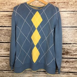 Liz Claiborne Blue Yellow White Argyle Sweater 3X